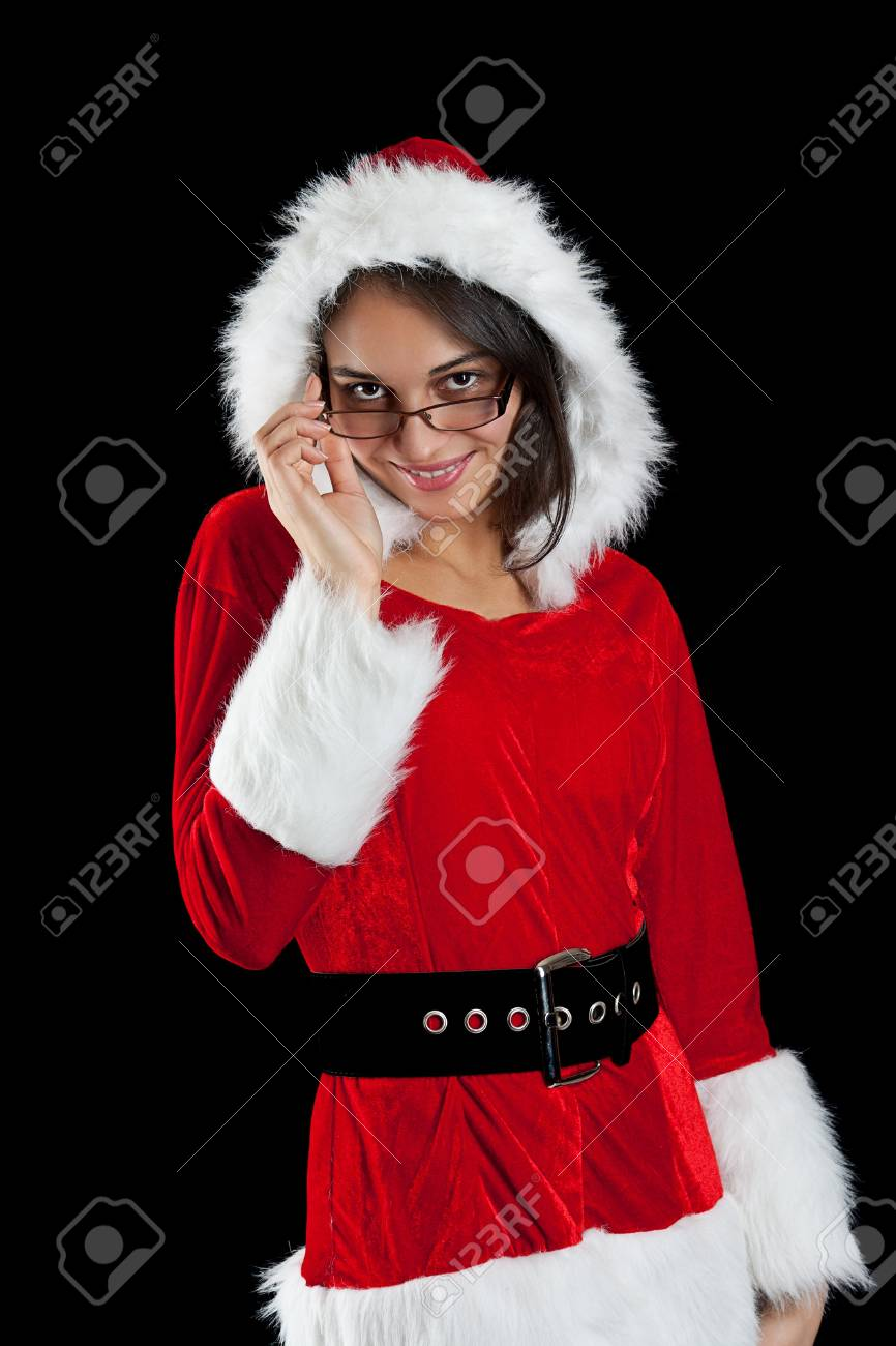 Studio portrait of a sexy young woman dressed as Santa Stock Photo - 12762666