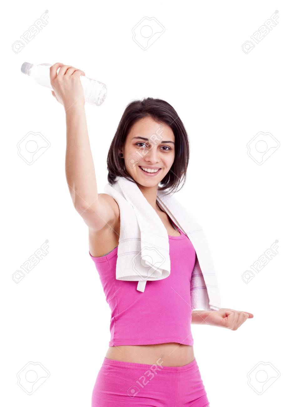 Fitness and gym, smiling young woman with water. Isolated over white background Stock Photo - 12762554