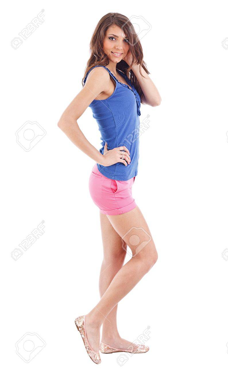 Portrait of smiling young beautiful woman in shorts at full heigh Stock Photo - 13651393