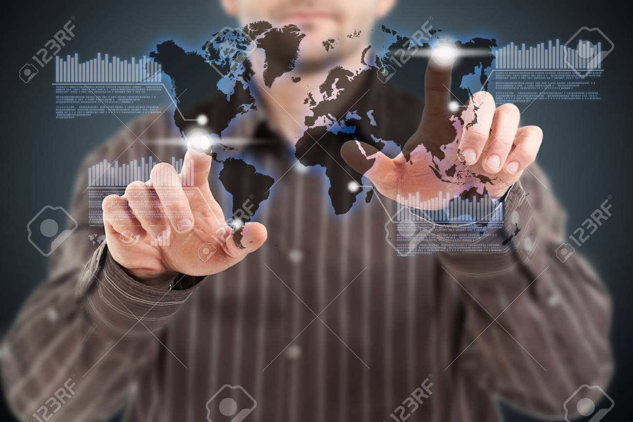 Businessman pushing world network connection Stock Photo - 13742389