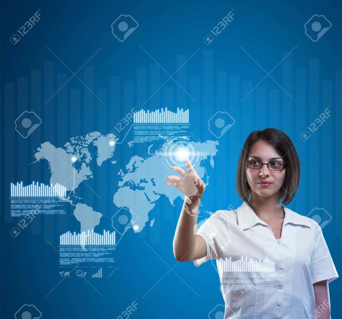 Brunette young woman in futuristic interface Stock Photo - 13742396