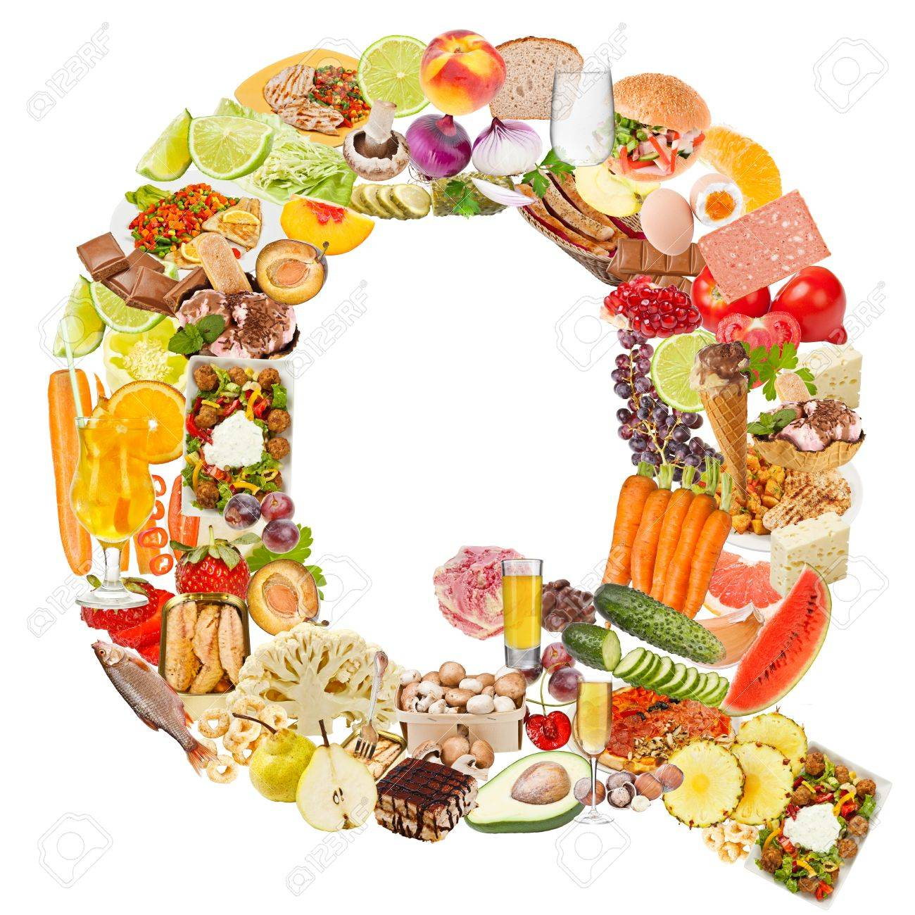 Letter Q Made Of Food Isolated On White Background Stock Photo