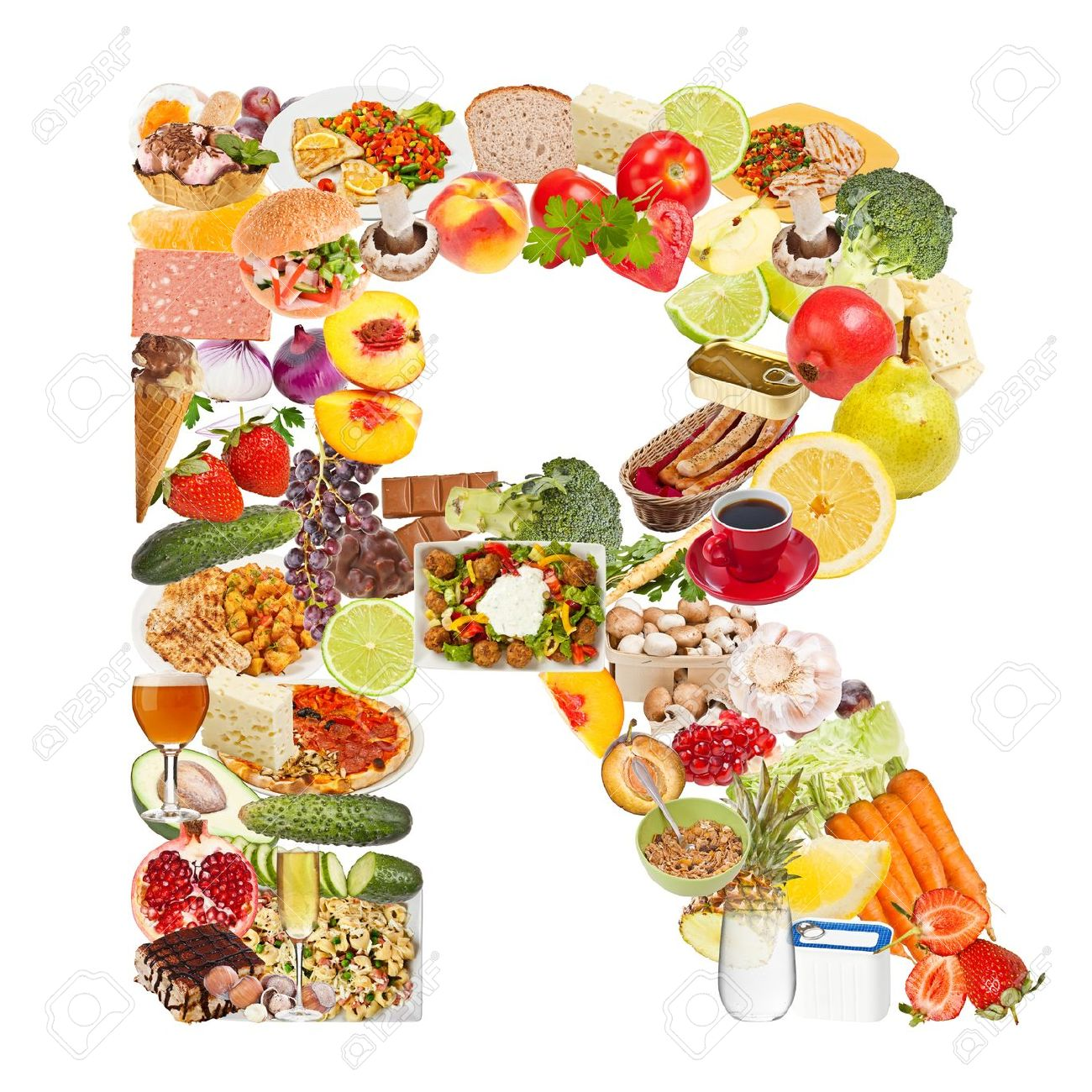 letter r made of food isolated on white background stock photo
