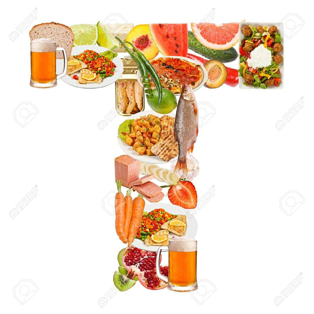 letter t made of food isolated on white background stock photo 15088368