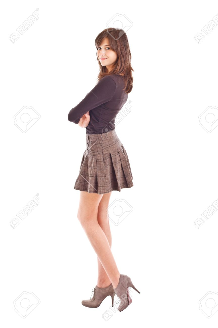 Teenage Girl Posing In Short Skirt Stock Photo, Picture And ...