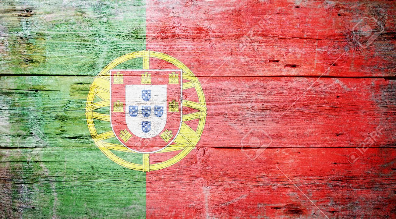 Flag of Portugal painted on grungy wood plank background Stock Photo - 15617813