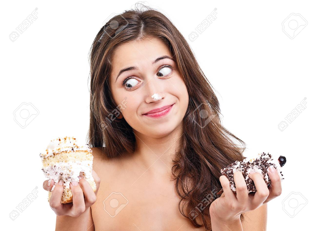 Brunette teen girl with two cakes Stock Photo - 16573742