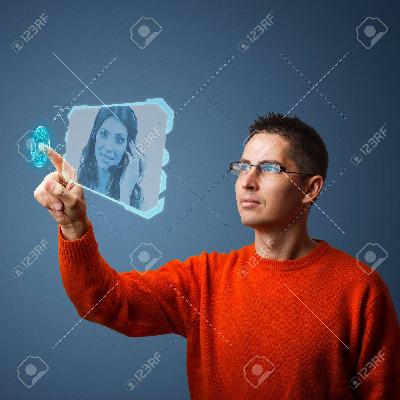 Young man pushing digital button on tablet screen Stock Photo - 17218153