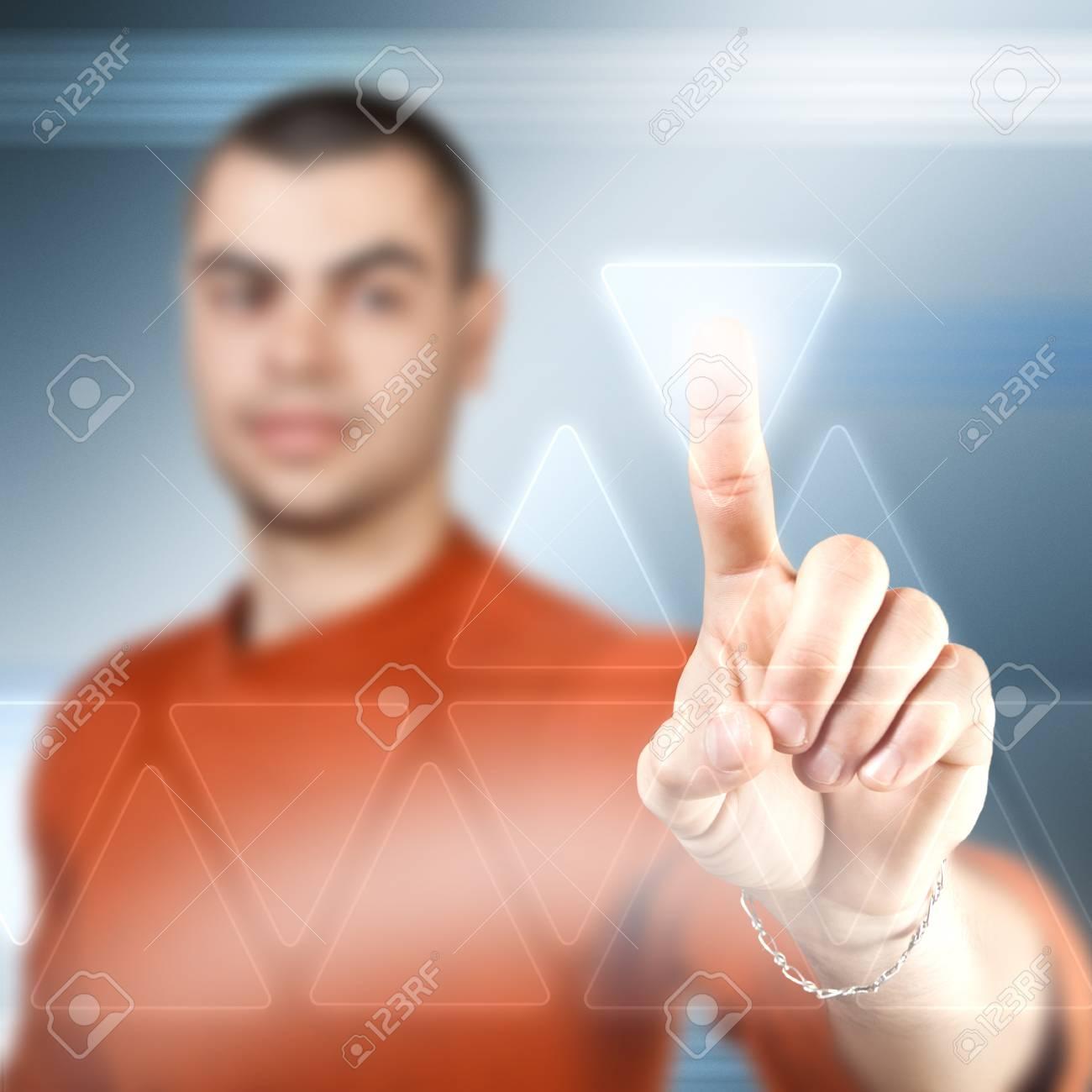 Businessman using futuristic interface, digital concept Stock Photo - 17214921