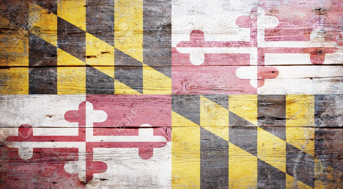Flag of Maryland painted on grungy wooden background Stock Photo - 17786932
