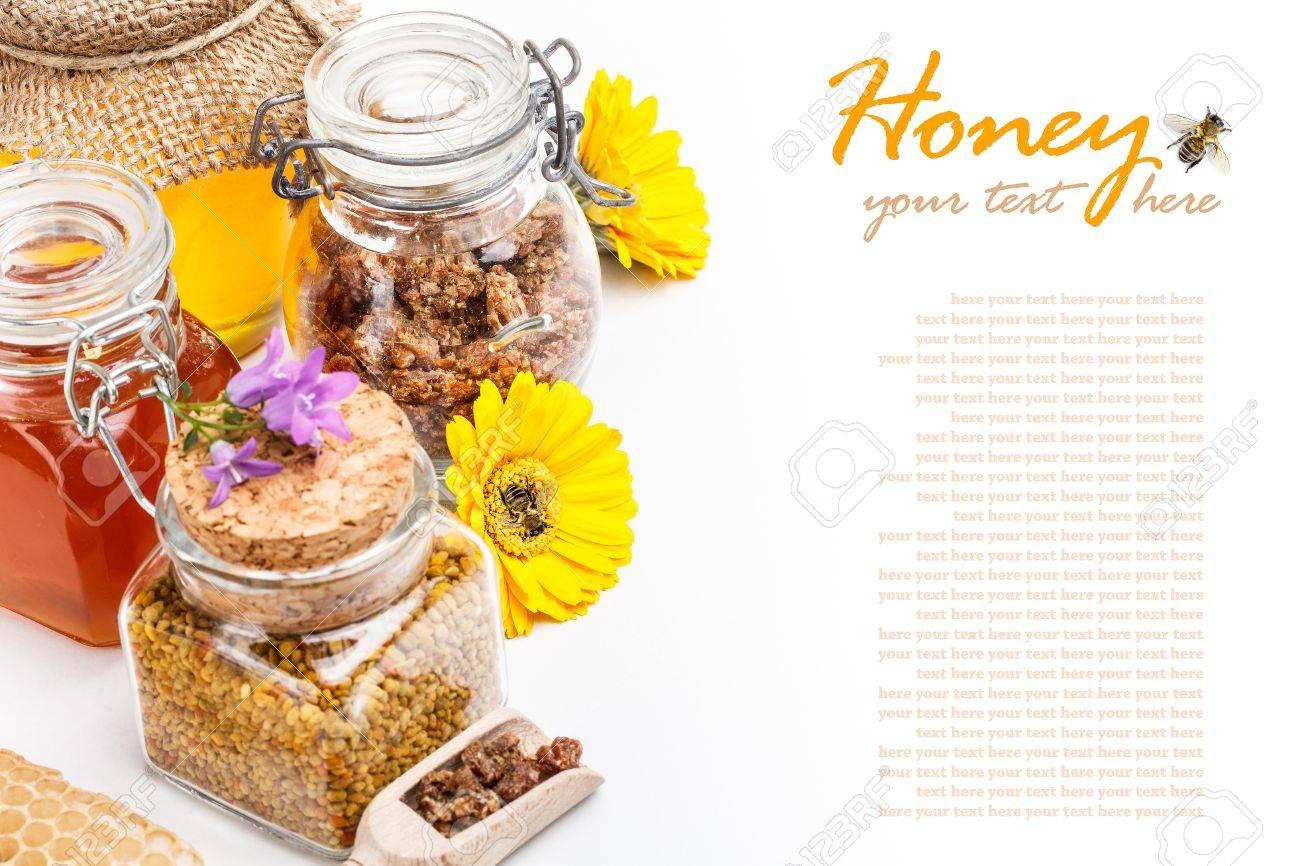 Still life of fresh honey, pollen and propolis on white background Stock Photo - 17786610