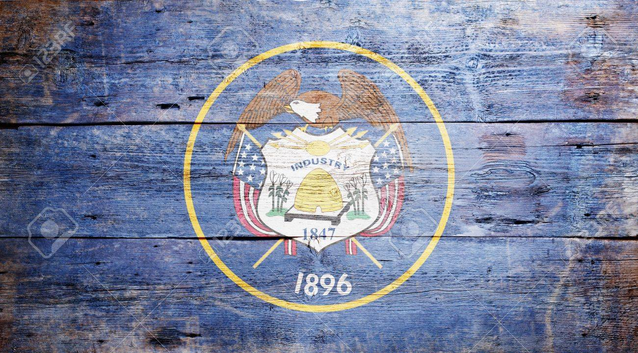 Flag of the state of Utah painted on grungy wooden background Stock Photo - 17787760