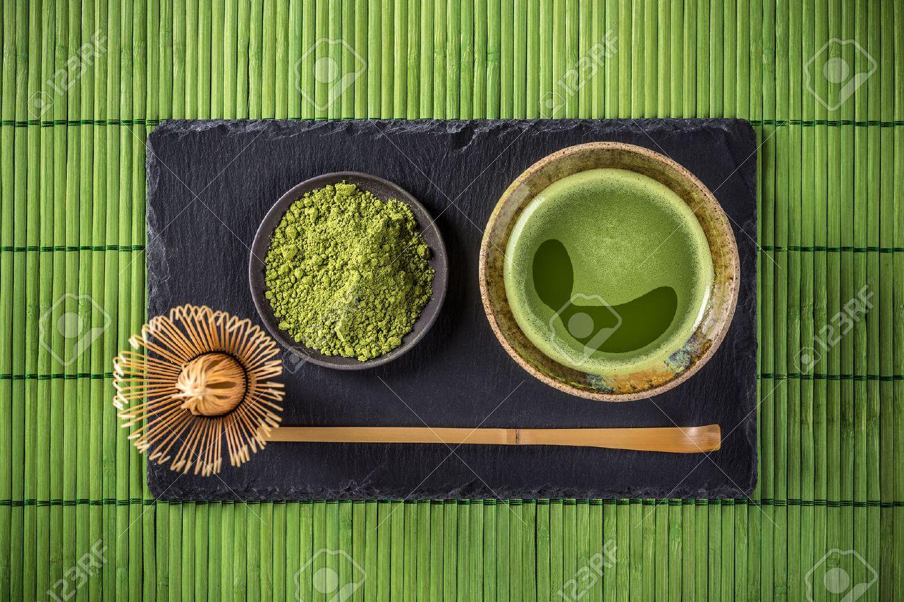 Japanese tea ceremony setting, Matcha green tea - 51629488