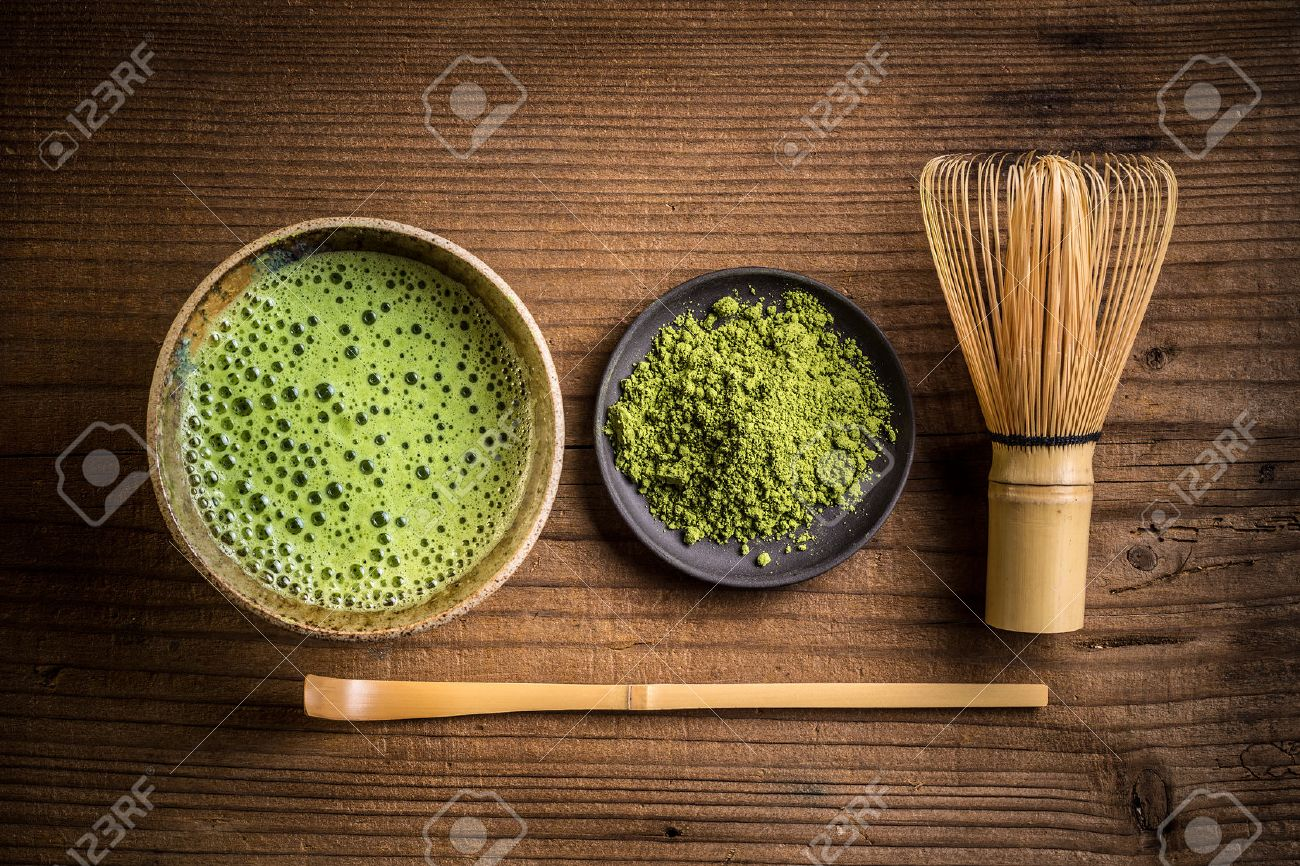 Japanese tea ceremony setting on old wooden bench - 52127416