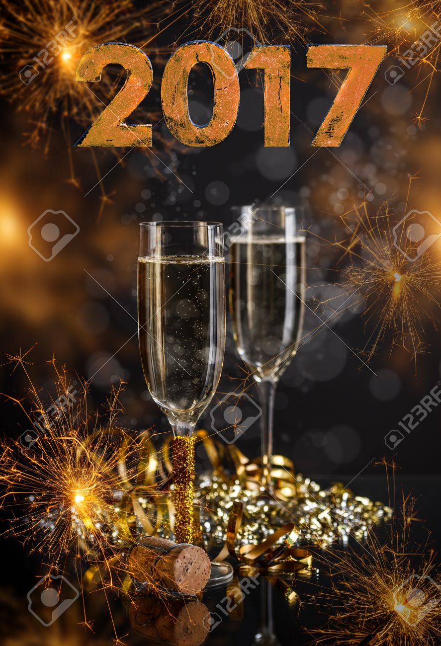 2017 New Years Eve Celebration Background With Pair Of Flutes Stock Photo