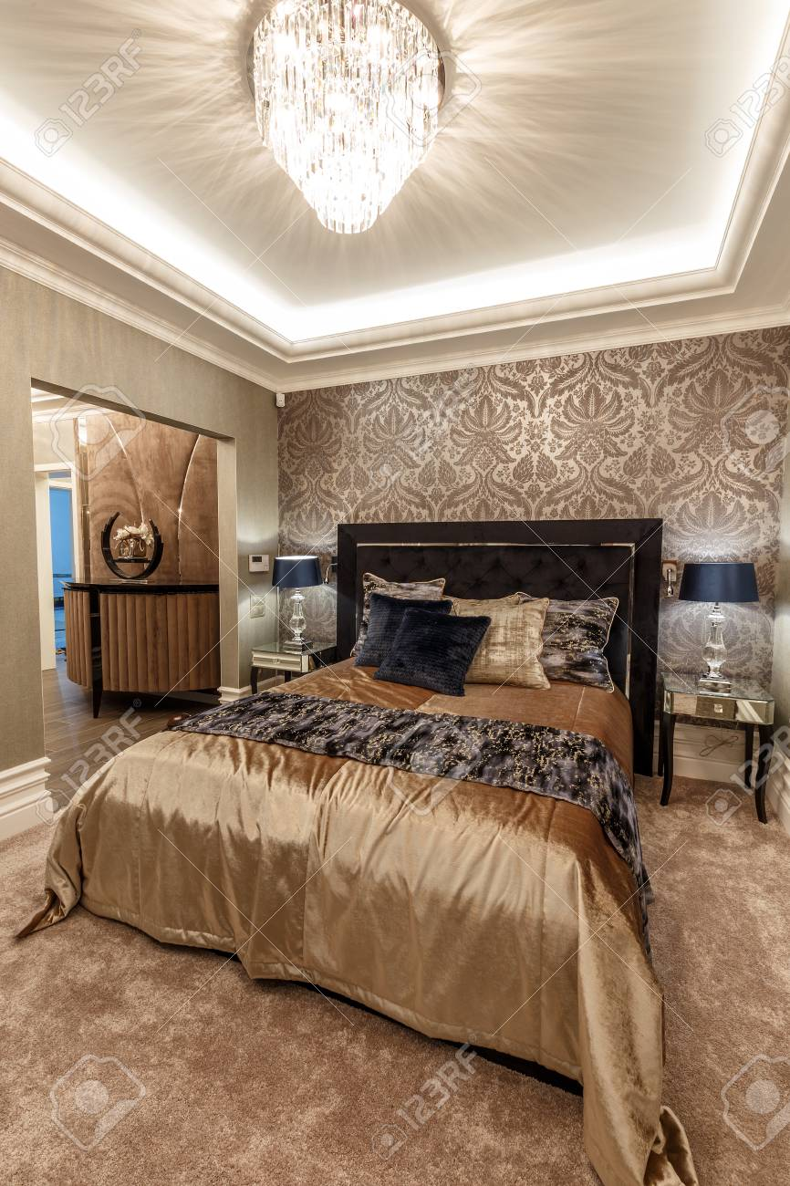 Master Bedroom Interior In Brown Tones Stock Photo Picture And Royalty Free Image Image 116180150