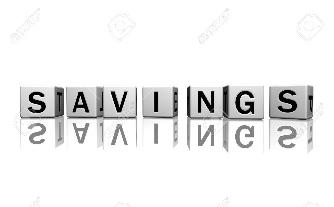 dice isolated on a white reflecting floor making the word savings Stock Photo - 2685374