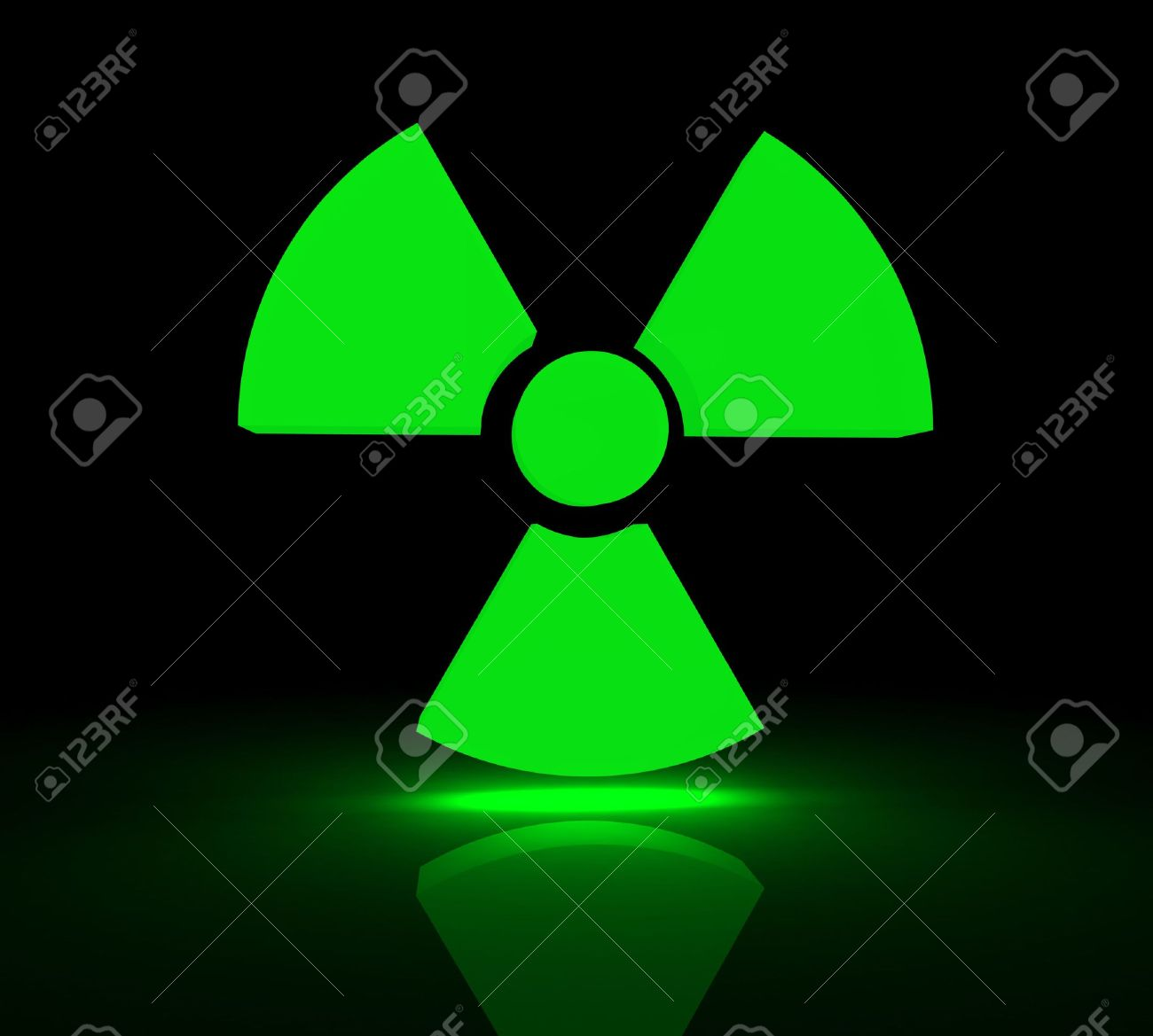 Glowing symbol for radioactive substances. 3d render. Stock Photo - 2831420