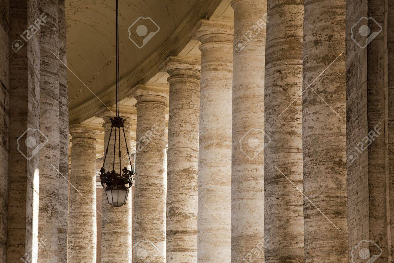 Bernini colonnade in St Peters Square, Rome, with hanging lamp Stock Photo - 15034351