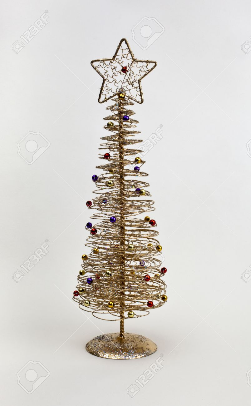 gold wire christmas tree decoration stock photo 15123369 - Wire Christmas Tree