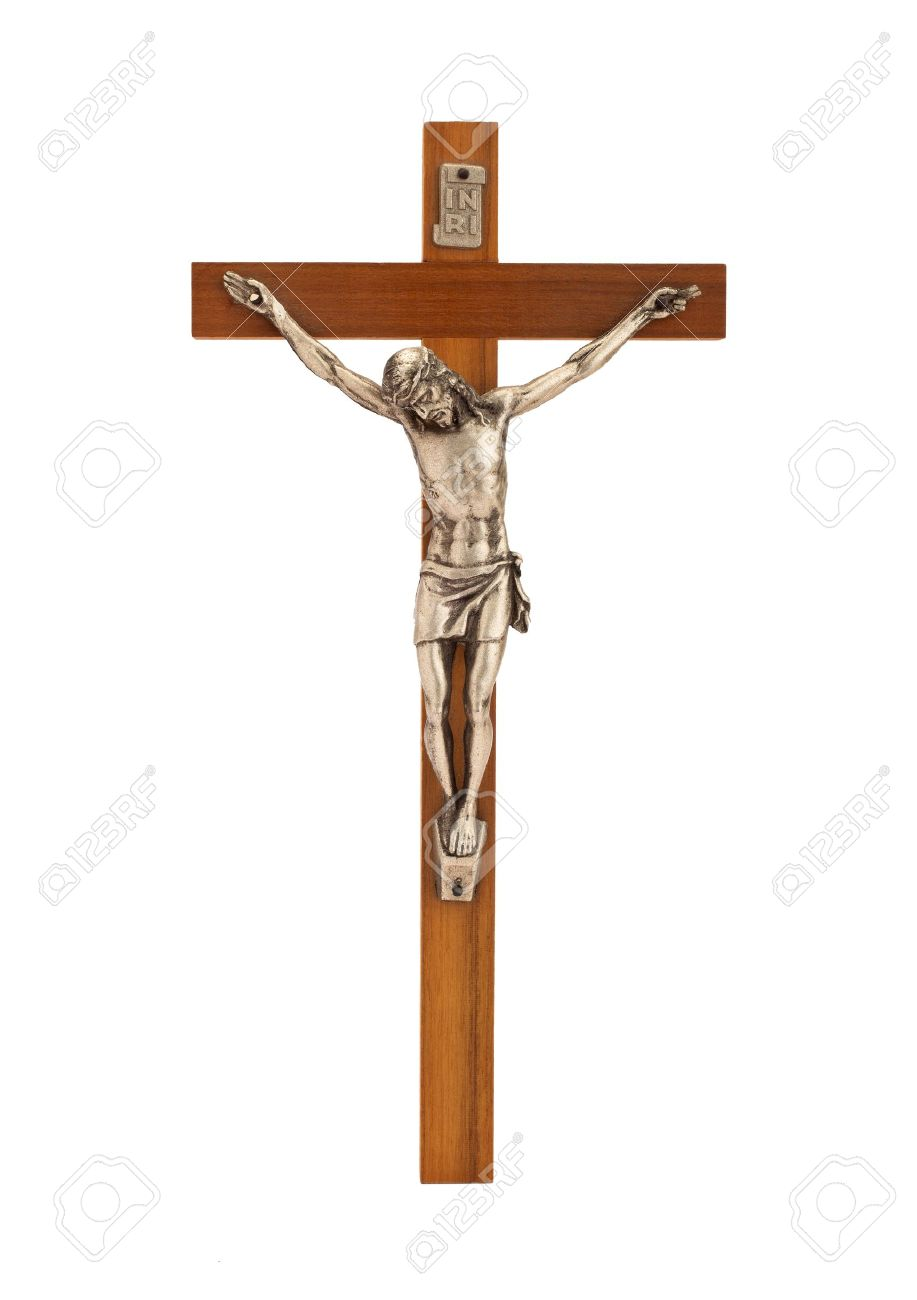Crucifix with figure of Jesus on white background, vertical - 15170944