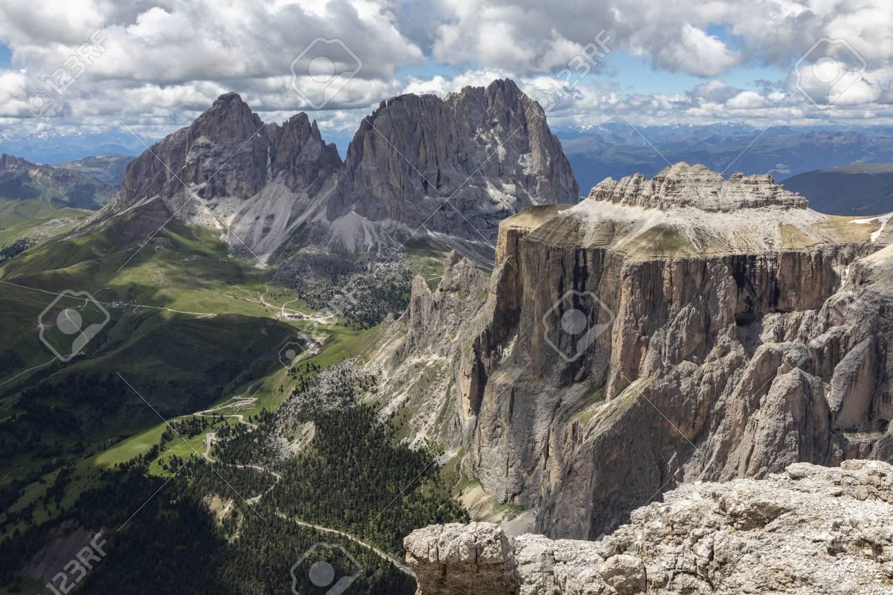 The Sella Towers In The Italian Dolomites From Sass Pordoi Terrazza