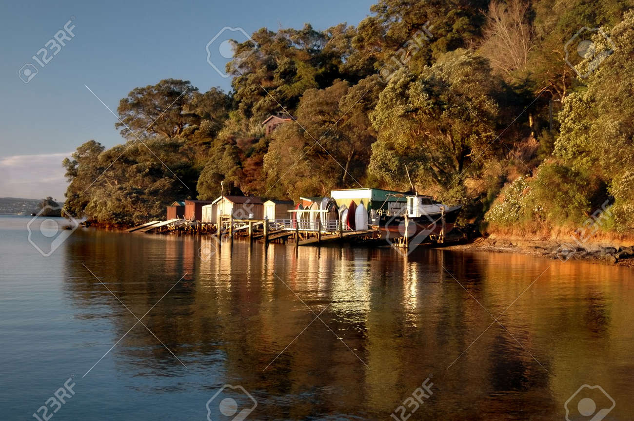 Boat Shed Reflections Stock Photo - 561977
