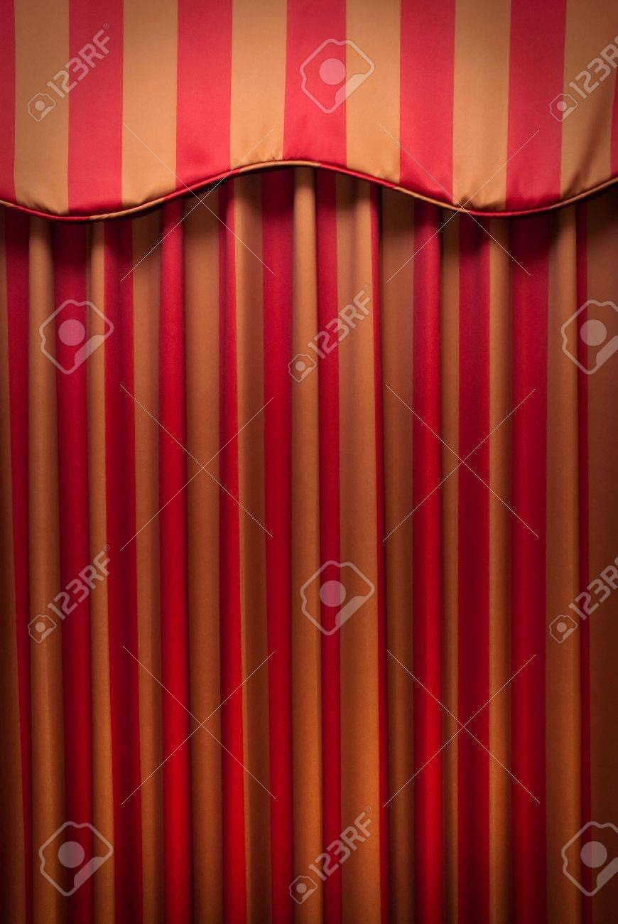 Green curtains crossword - Red And Gold Striped Fabric Curtains Stock Photo 7772566