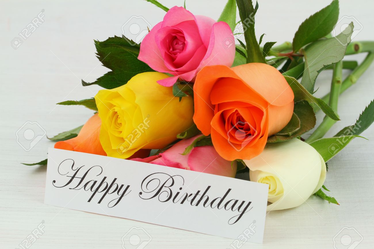 Happy Birthday Note And Colorful Bouquet Of Roses Stock Photo ...