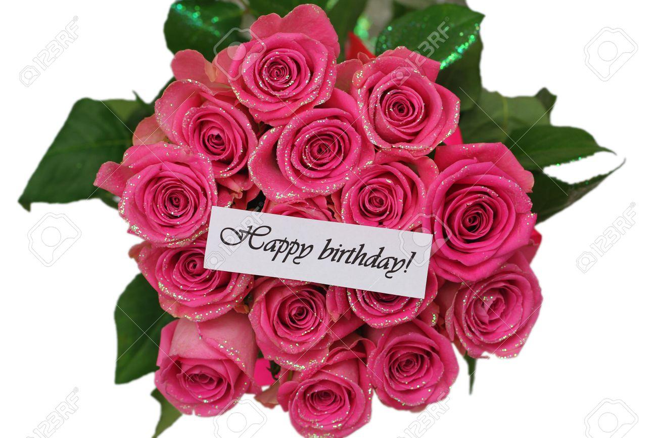 Carte Anniversaire Bouquet De Roses.Carte Joyeux Anniversaire Avec Des Roses Roses Bouquet Isole Sur Blanc