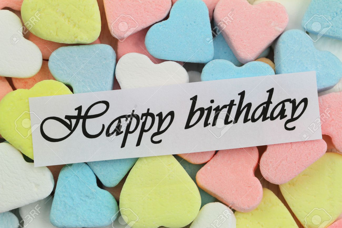 Happy birthday card with colorful candy hearts stock photo picture happy birthday card with colorful candy hearts stock photo 25605503 bookmarktalkfo Image collections
