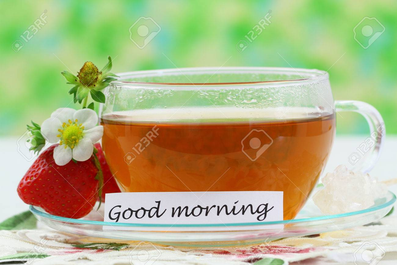 Good Morning Card With Cup Of Tea And Strawberry Stock Photo