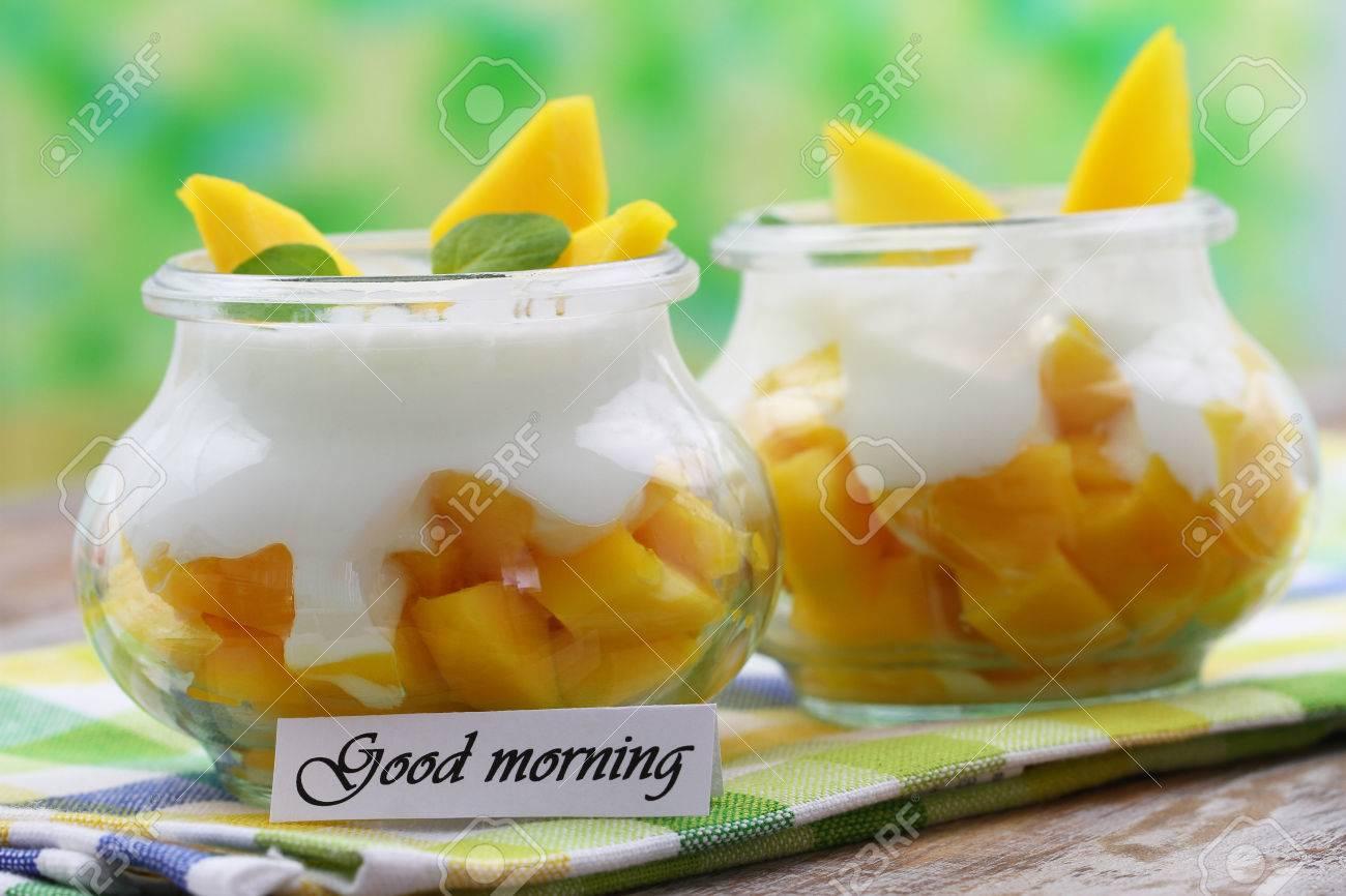Good Morning With Healthy Breakfast Yogurt And Mango Stock Photo