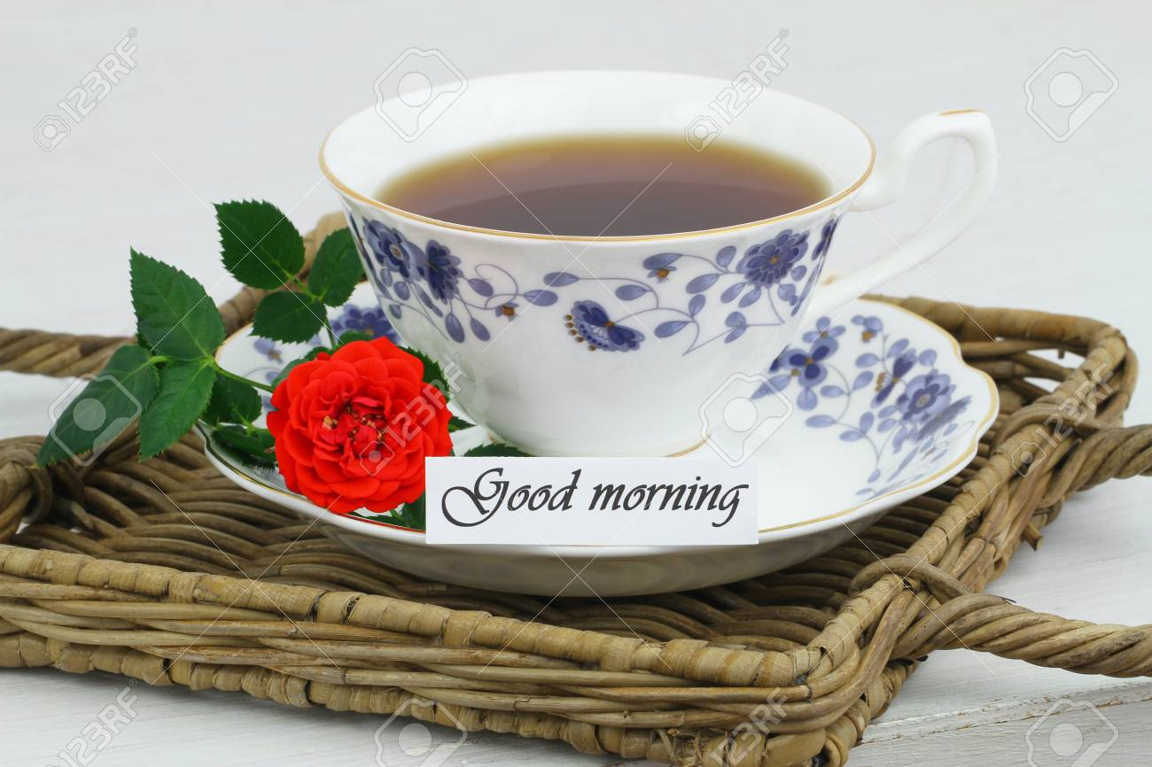 Good Morning Card With Cup Of Tea And Red Wild Rose Stock Photo