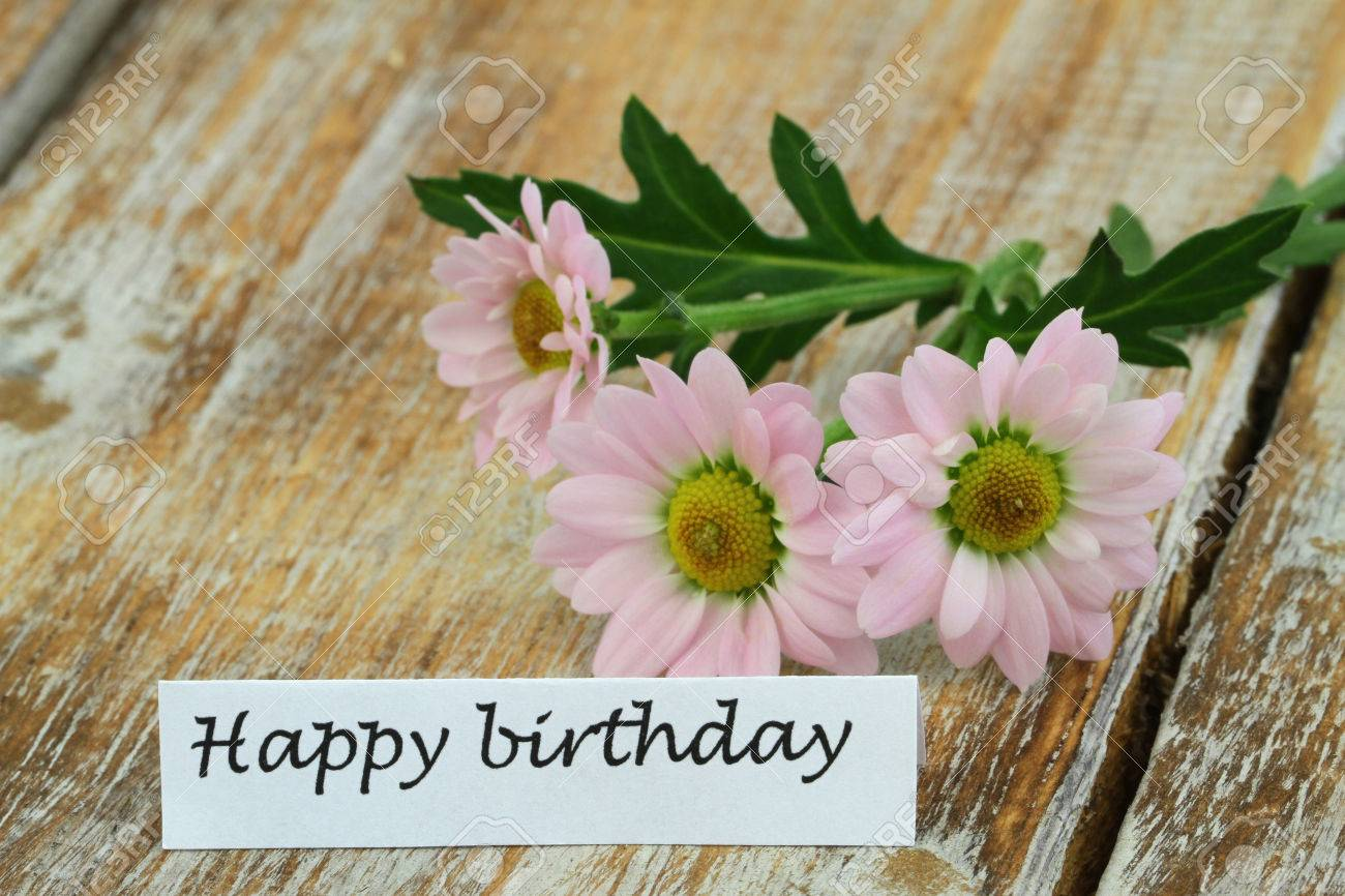 Happy Birthday Card With Pink Daisies On Rustic Wooden Surface Stock Photo