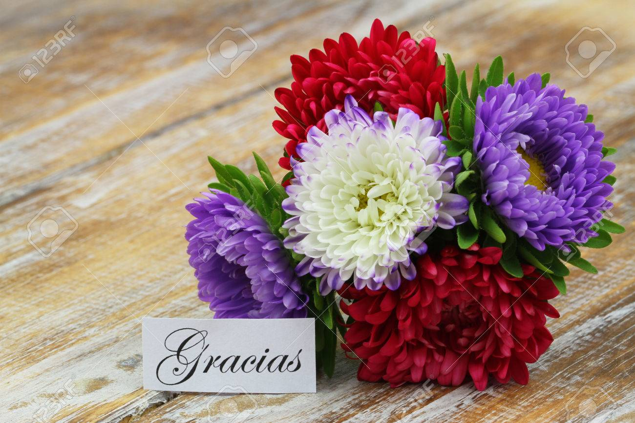 Gracias-which Means Thank You In Spanish With Colorful Bouquet ...
