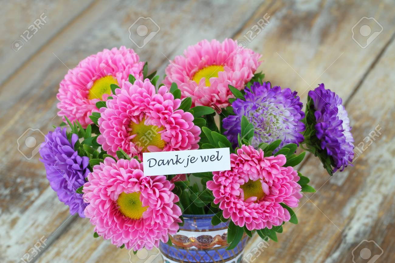 Thank you all which means thank you in dutch card with colorful stock photo thank you all which means thank you in dutch card with colorful aster flower bouquet on rustic wooden surface izmirmasajfo