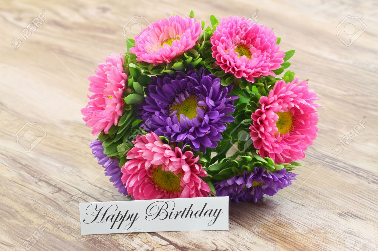 Happy Birthday Card With Colorful Aster Flowers Bouquet Stock Photo ...