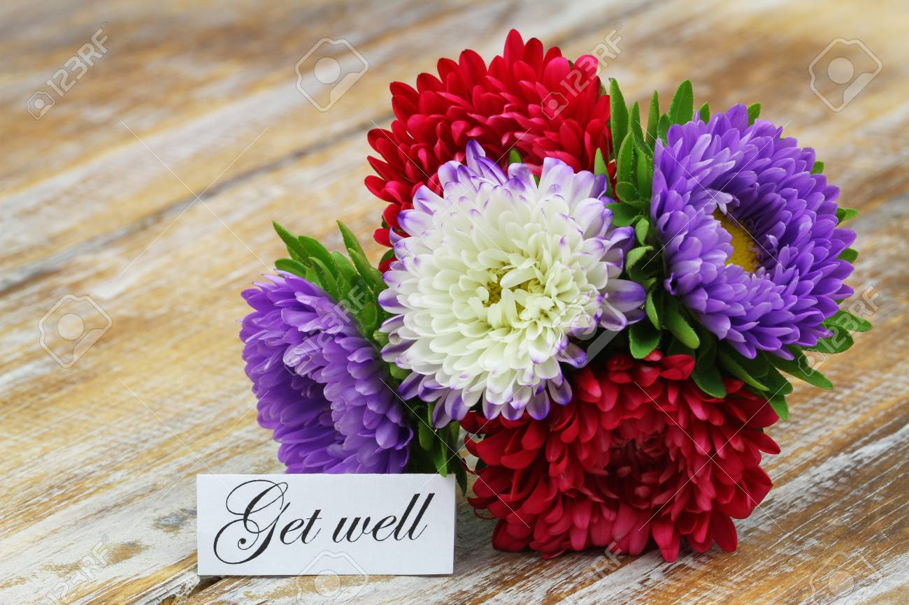 Get Well Card With Colorful Aster Flowers Bouquet On Rustic Wooden ...