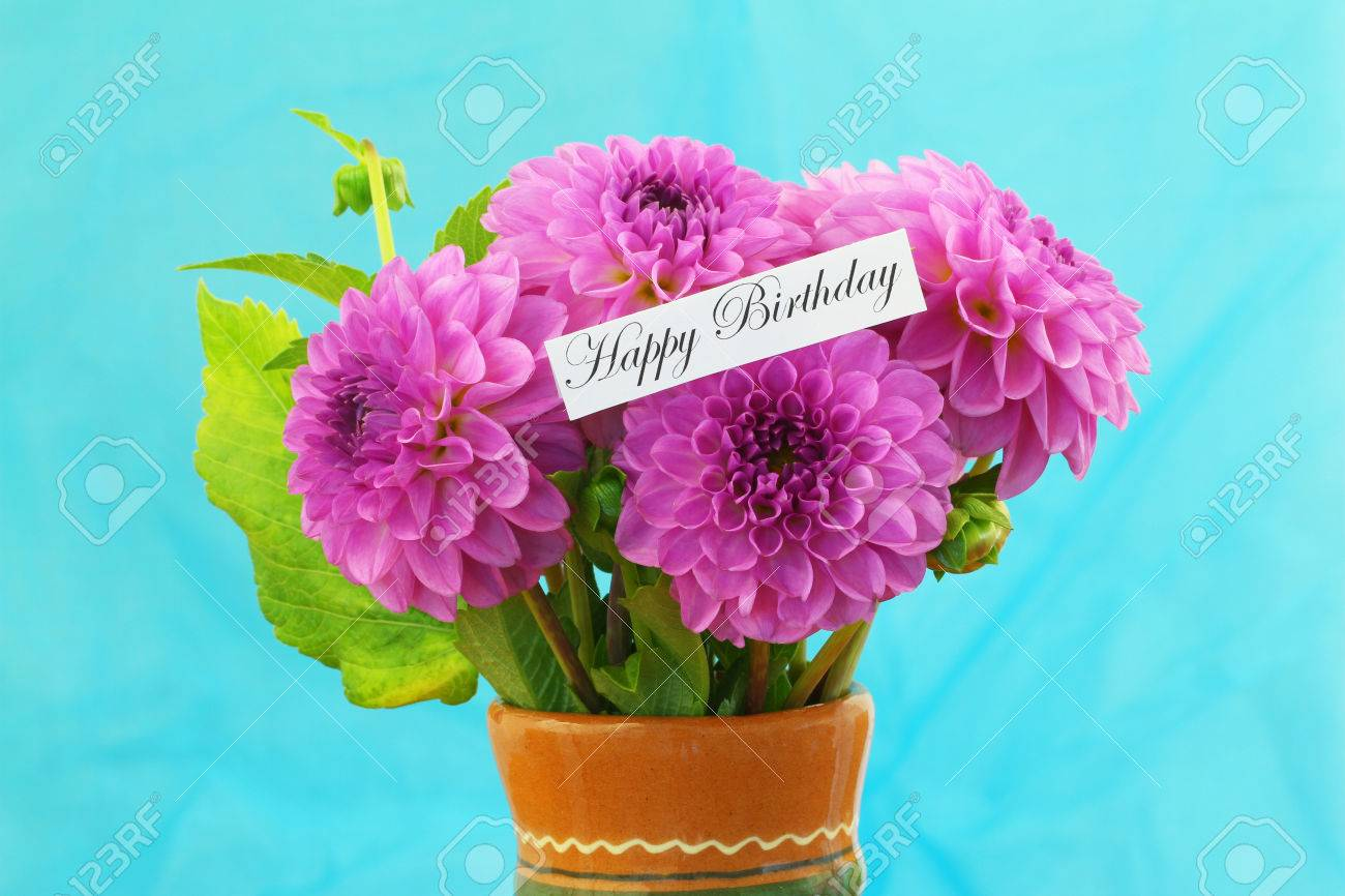 Happy Birthday Card With Pink Dahlia Flower Bouquet Stock Photo ...