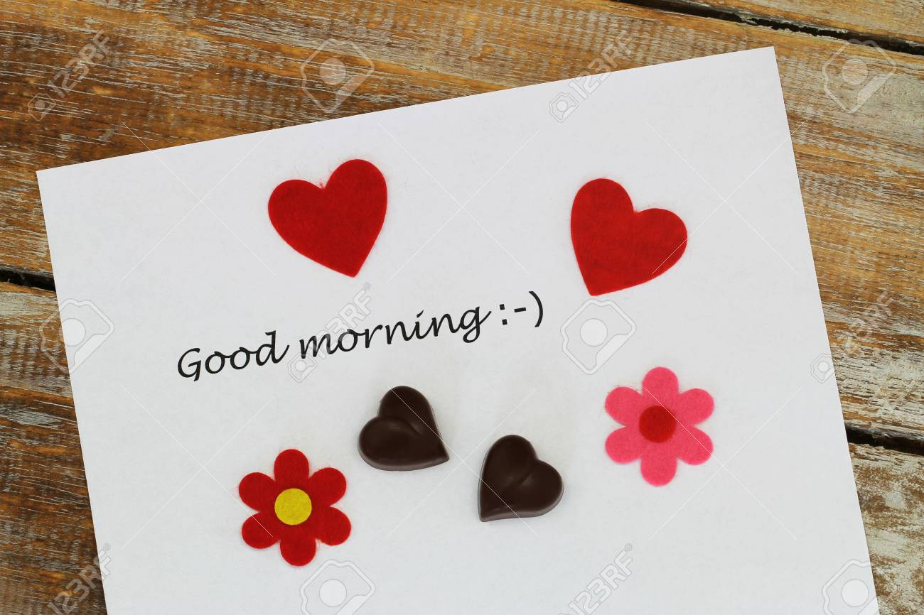 Good Morning Written On White Paper With Red Hearts Heart Shaped