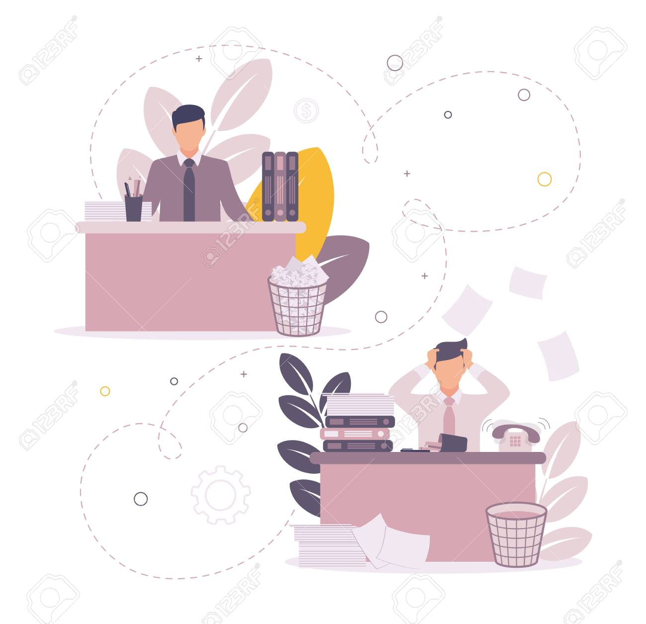 Time management illustration. Illustration of a man sitting at a table on which papers and folders, a checkmark above them on a task, against a background of a graph. - 151321859