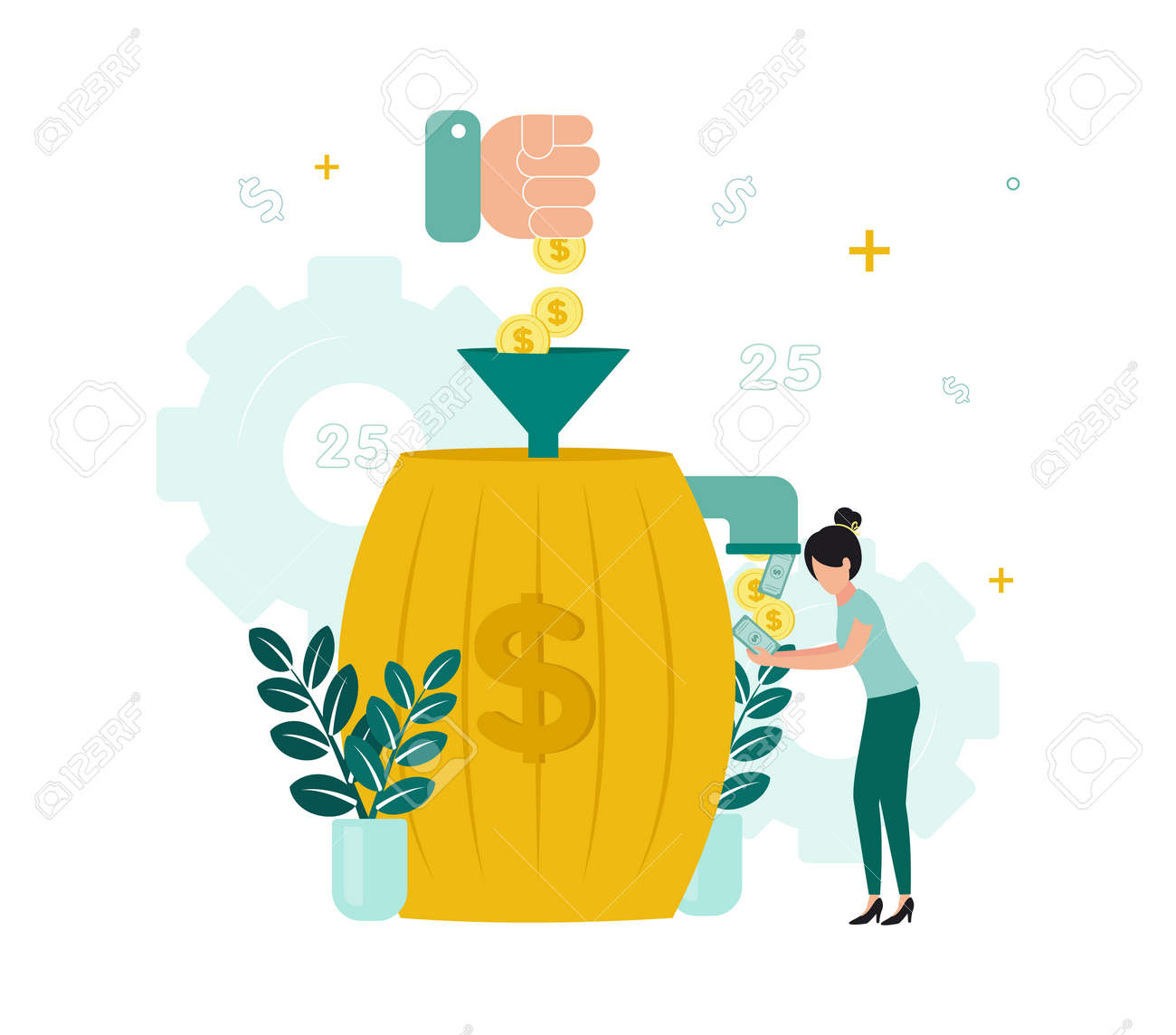 Finance. Financial intermediaries. A hand throws coins into a barrel through a funnel, from a barrel a tap, from which money is poured into a woman's hands. Vector illustration. - 159133313