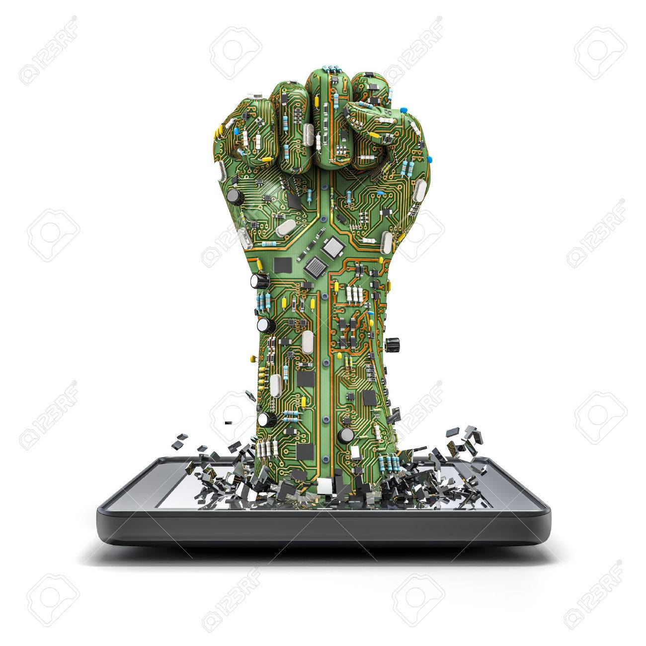 Data fist tablet, 3D render of raised fist made of computer circuit board bursting from tablet computer Stock Photo - 43846005
