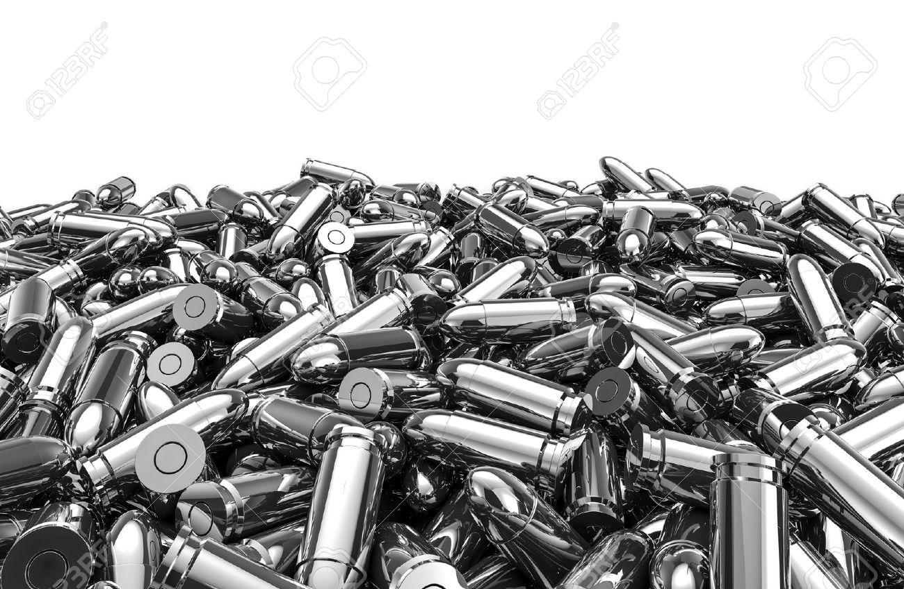 Silver bullets pile, 3D render of 9 mm bullets - 44314949