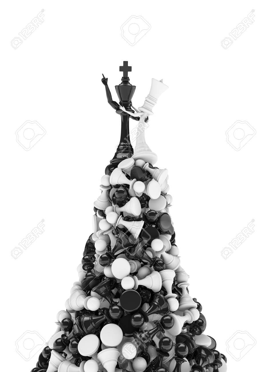 King Of The Hill, 3D Render Of Black Chess King And White Queen ...