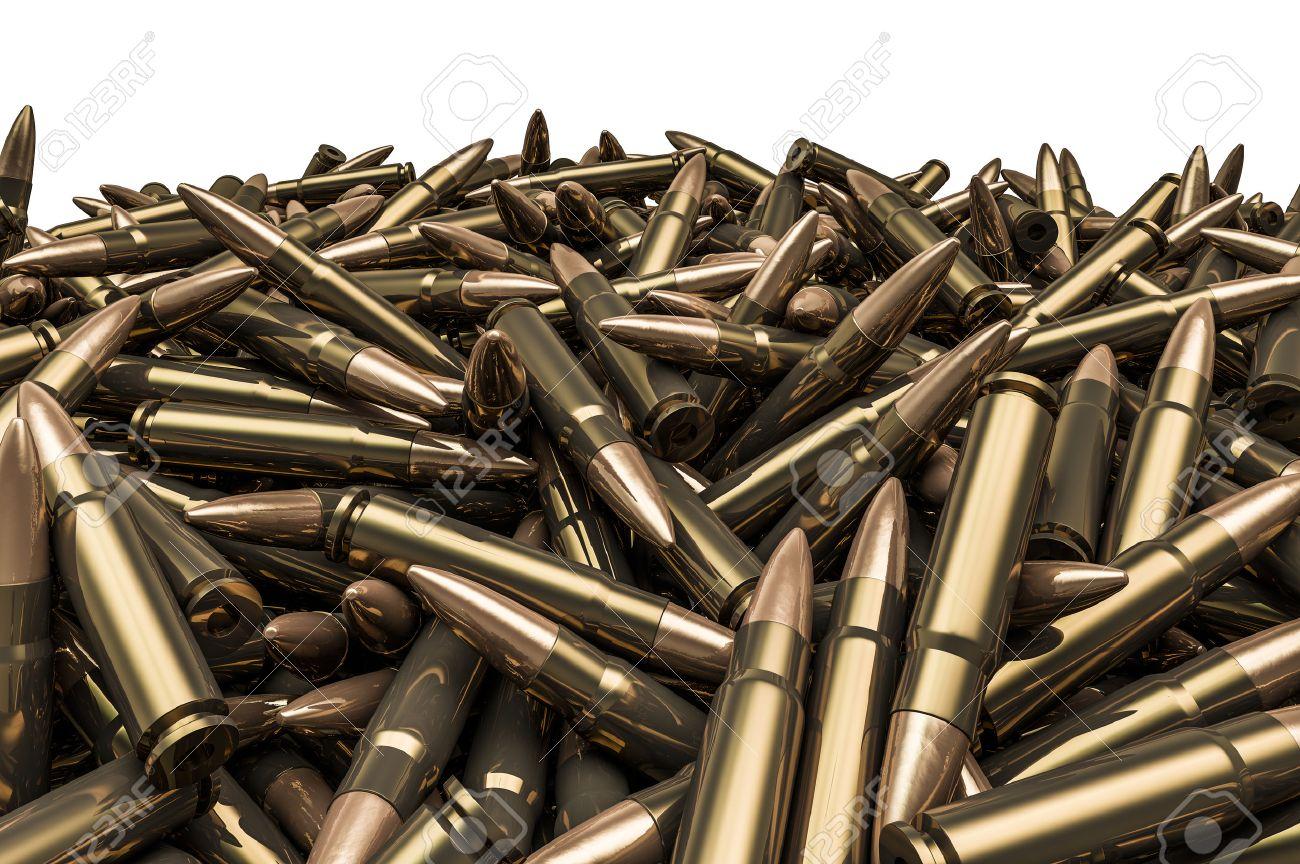 Rifle bullets pile, 3D render of hundreds of rifle bullets - 44374374