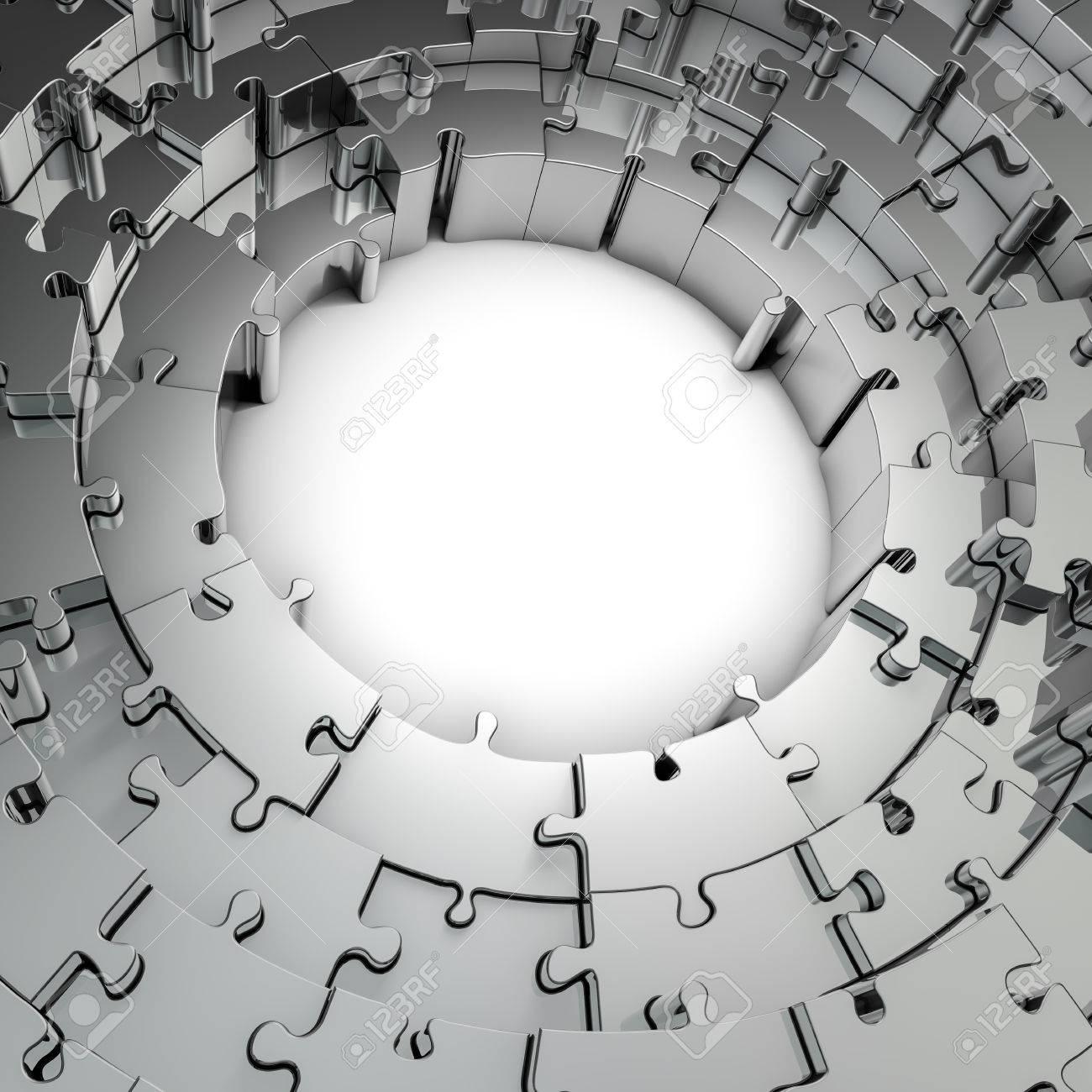 Metal Puzzle Frame, 3D Render Of Metallic Circular Puzzle Pieces ...