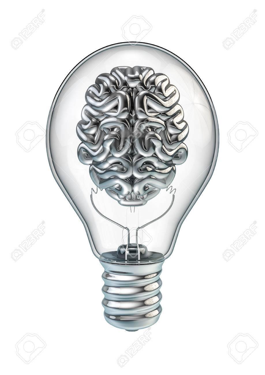 light bulb brain 3d render of shiny chrome brain inside light