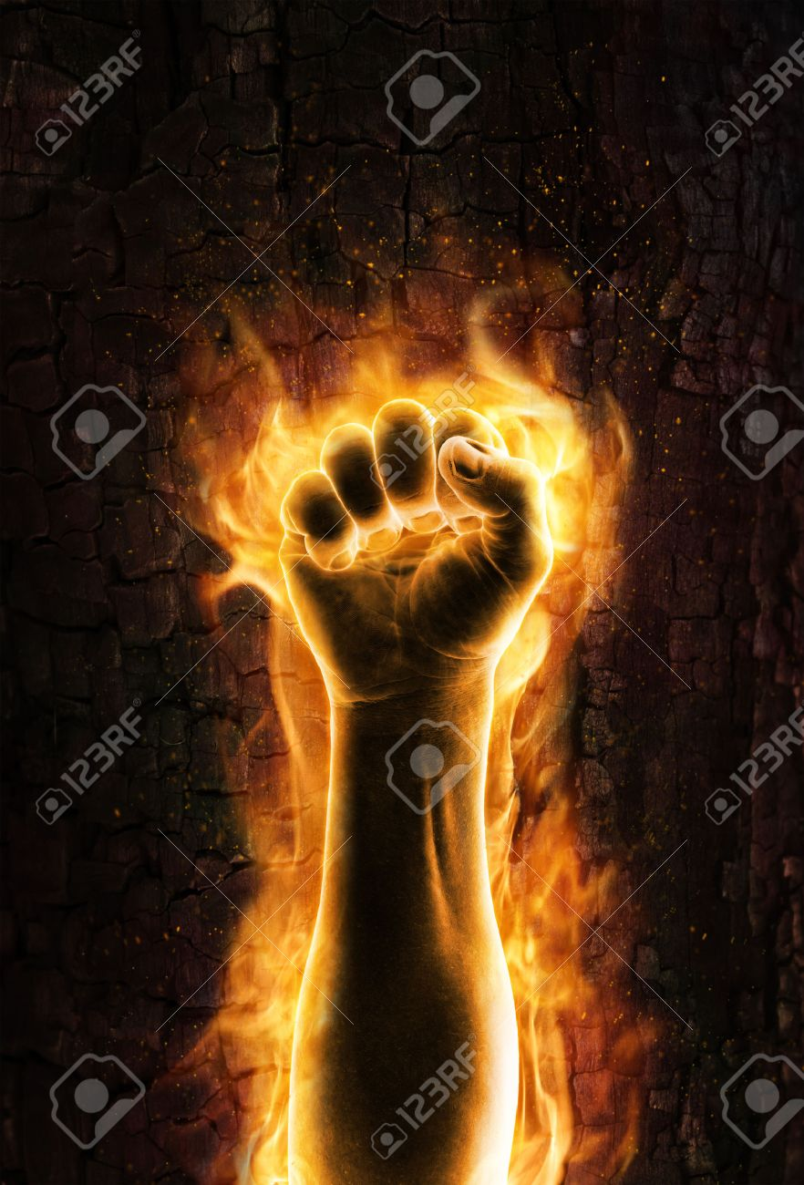 Fist of fire Grungy burning fist of fire - 44445631